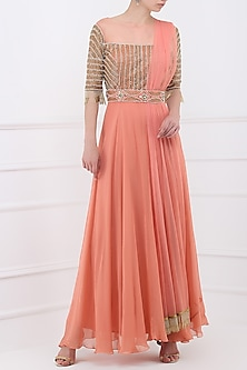 69b483f87dff Dusty peach embroidered anarkali gown available only at Pernia's Pop Up Shop .