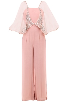 Pale Pink Embroidered Jumpsuit with Attached Cape