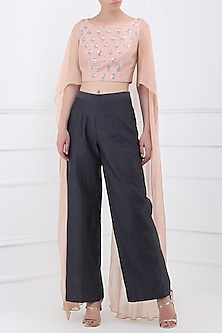Pale Pink Embroidered Crop Top with Grey Pants by Sanya Gulati