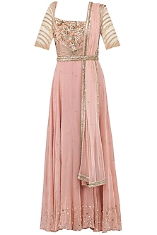 Pale Pink Embroidered Anarkali Gown