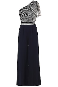 Midnight Blue Embroidered Jumpsuit