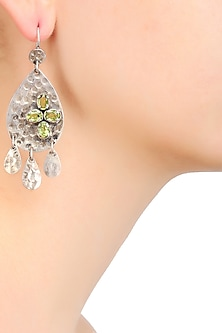 Antique Finish Textured Peridot Stones Pear Shaped Earrings