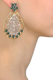 Silver and Gold Finish Emerald Stone Tear Drop Earrings