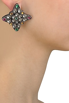 Gunmetal Finish Multicolor Stone Stud Earrings