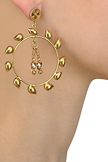 Gold Finish Petal Motif Round Earrings