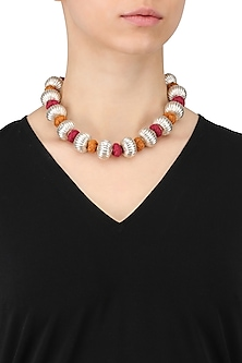 Silver Finish Textured Balls Red Thread Necklace