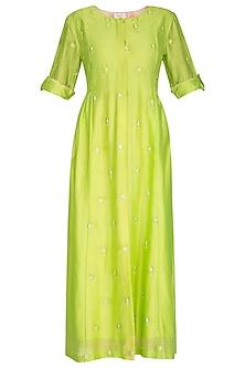 Neon Green Embroidered Midi Dress