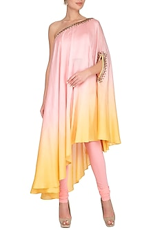 Pink Embroidered One Shouldered Kurta With Pants by Shilpi Gupta Surkhab
