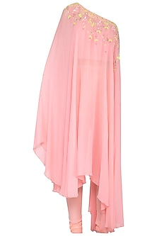 Pink Embroidered Asymmetric Kurta With Pants