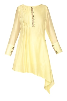 Lemon Yellow Embroidered Asymmetric Tunic by Shilpi Gupta Surkhab