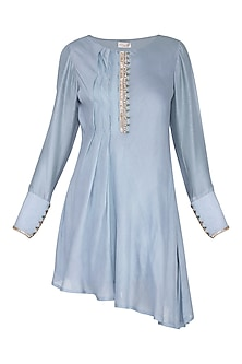 Lilac Embroidered Asymmetric Tunic