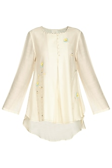 Ivory Embroidered Tunic by Shilpi Gupta Surkhab