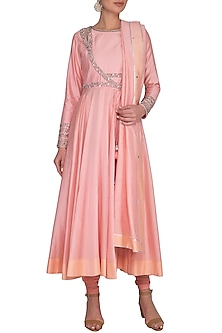 Pink Embroidered Kurta Set by Shilpi Gupta Surkhab