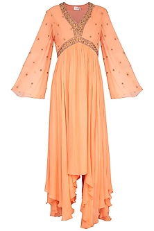 Orange Embroidered Asymmetric Anarkali Kurta With Pants by Shilpi Gupta Surkhab