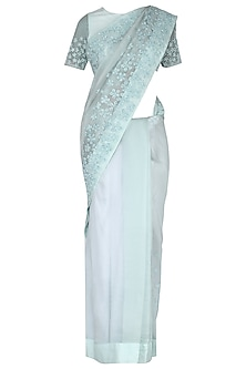 Mint green embroidered saree set