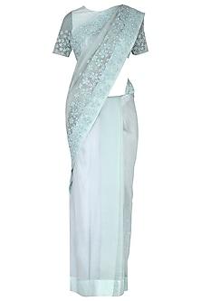 Mint green embroidered saree set