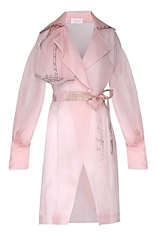Pink sheer trench coat with bustier