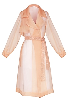 Peach sheer trench coat with bustier by Shilpi Gupta Surkhab