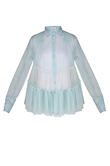 Powder blue sheer frills shirt with bustier