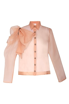 Peach sheer shirt with bustier
