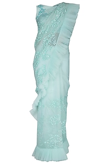 Mint green frill embroidered saree set