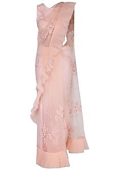 Pink embroidered saree set