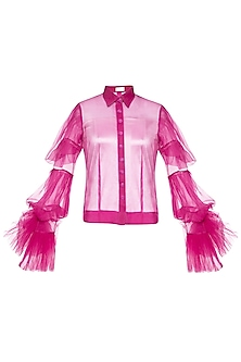 Fuschia ruffled sleeves shirt