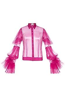 Fuschia ruffled sleeves shirt by Shilpi Gupta Surkhab