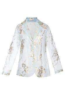 Powder blue foil print jacket