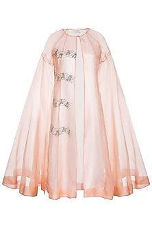 Peach musical note trench coat