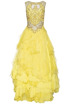 Yellow embellished ruffled gown