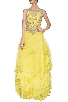 Yellow embellished ruffled gown by Shilpi Gupta Surkhab