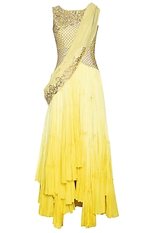 Yellow ombre drape anarkali set