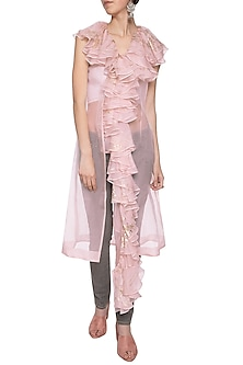 Pink ruffled trench coat by Shilpi Gupta Surkhab
