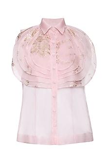 Pink layered printed shirt by Shilpi Gupta Surkhab