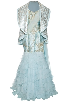 Blue evening gown with jacket by Shilpi Gupta Surkhab