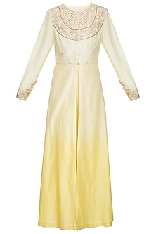 Lemon embroidered ombre kurta set