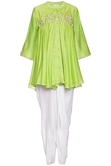 Lime green embroidered tunic with pants