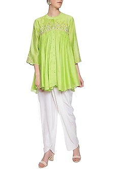 Lime green embroidered tunic with pants by Shilpi Gupta Surkhab