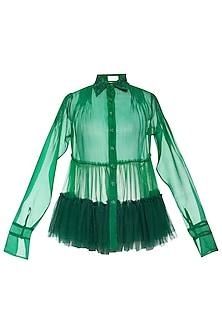 Green gathered shirt