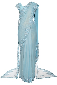 Powder blue embroidered saree set with cape