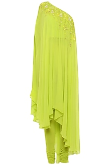 Lime Green One Shoulder Embroidered Kurta with Churidar Pants