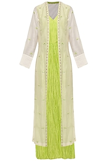 Neon Green Crushed Maxi Dress with Ivory Embroidered Jacket