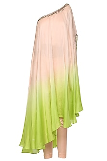 Pink To Lime Green Ombre One Shoulder Embroidered Kurta with Churidar Pants