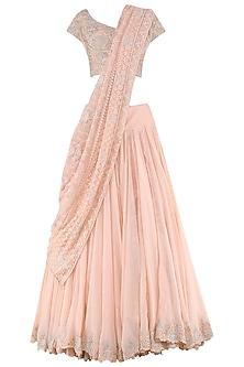 Peach Lehenga Saree with Embroidered Blouse