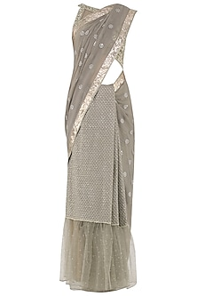 Pewter Embroidered Saree with Blouse