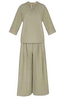 Powder Green Embroidered Top With Pants by Sheena Singh