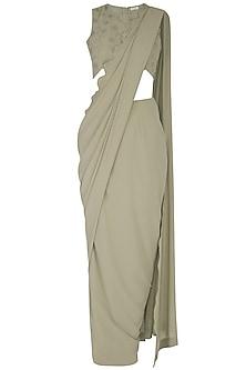 Powder Green Embroidered Drape Saree Set by Sheena Singh