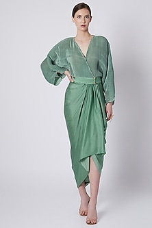 Olive Green Pleated Dhoti Dress by Shivangi Jain
