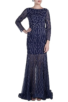 Blue Hand Embroidered Gown by Shivangi Jain